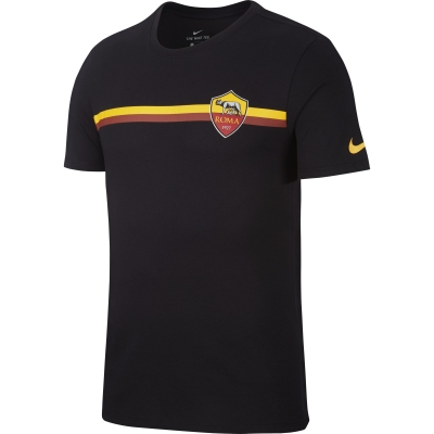 AS ROMA T-SHIRT NERA RIGATA 2018-19