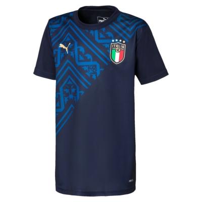 ITALIA FIGC PREMATCH JUNIOR NAVY SHIRT 2020-21
