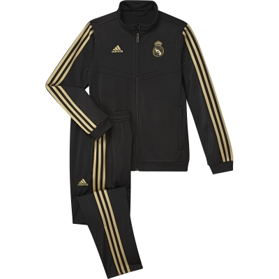 REAL MADRID BLACK POLY JUNIOR TRACKSUIT 2019-20