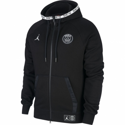 PSG JORDAN FULLZIP  BLACK HOODED SWEAT