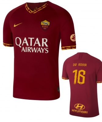 AS ROMA DE ROSSI HOME SHIRT 2019 + DDR16 and  LEGA 2018-19 PATCHES