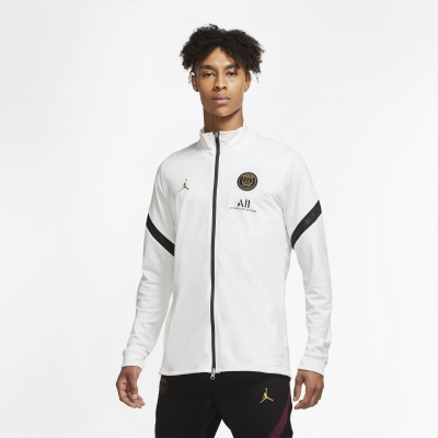 PSG WHITE POLY FULL ZIP JORDAN SWEAT 2020-21