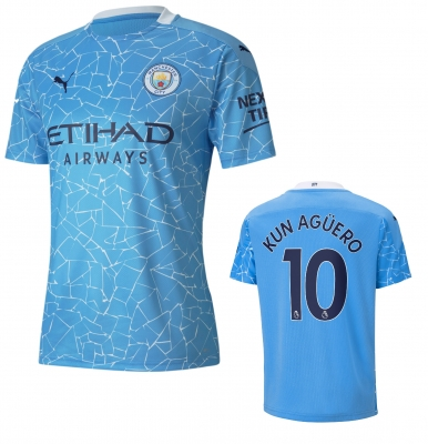 MANCHESTER CITY KUN AGUERO JUNIOR HOME SHIRT 2020-21