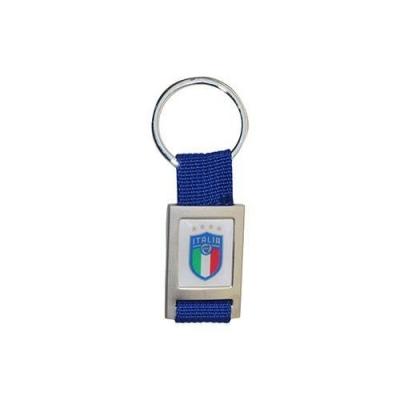 ITALIA FIGC PORTACHIAVI IN METALLO CON STOFFA BLU