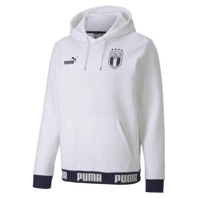 ITALIA FIGC FELPA CAPPUCCIO BIANCA 2019-21