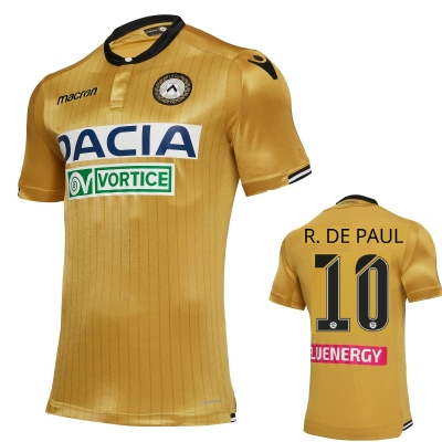 UDINESE DE PAUL AUTHENTIC MATCH AWAY GOLD SHIRT 2018-19