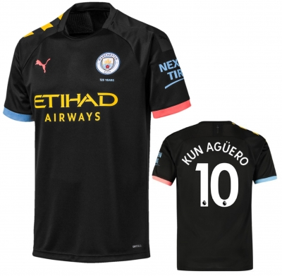 MANCHESTER CITY AGUERO AWAY JUNIOR BLACK SHIRT 2019-20
