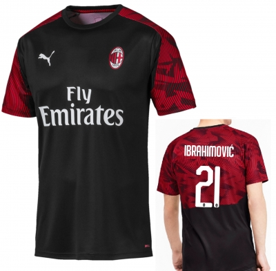 AC MILAN IBRAHIMOVIC TRAINING BLACK SHIRT 2019-20