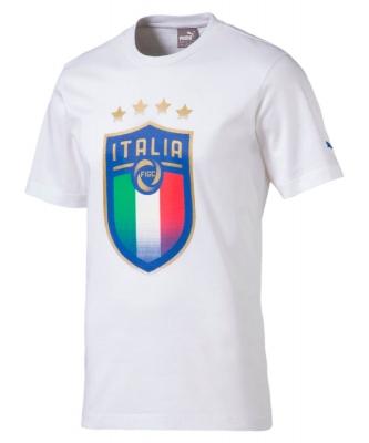 ITALIA FIGC BADGE JUNIOR WHITE T-SHIRT 2017-19