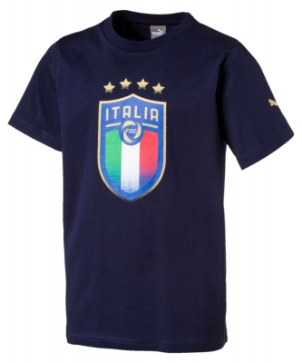 ITALIA FIGC BADGE JUNIOR NAVY T-SHIRT 2017-19